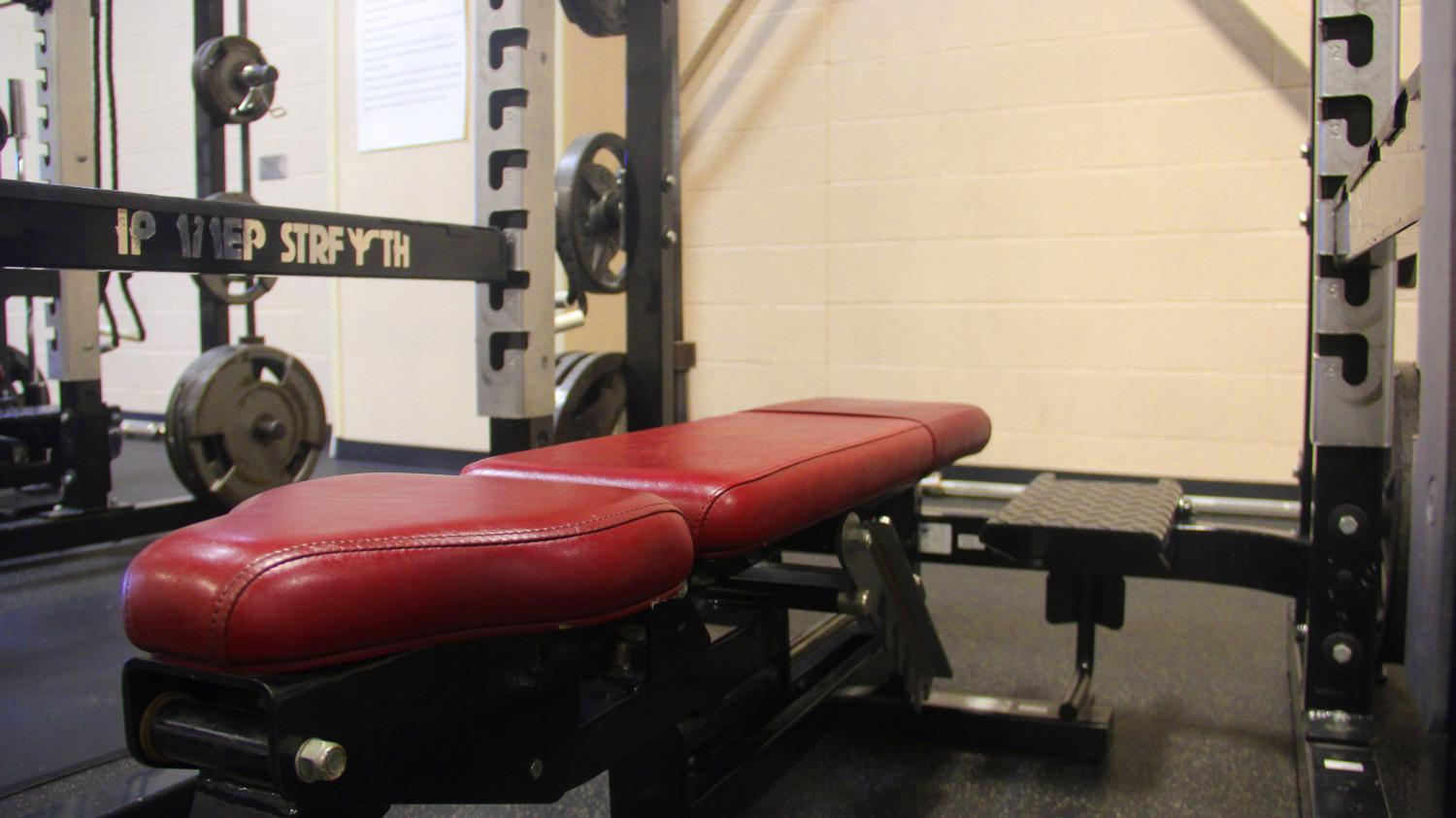 Serving as the home room for those in the conditioning class, weight racks keep weights stored safely. The new weight racks were added when conditioning room and turf room were added to the school.