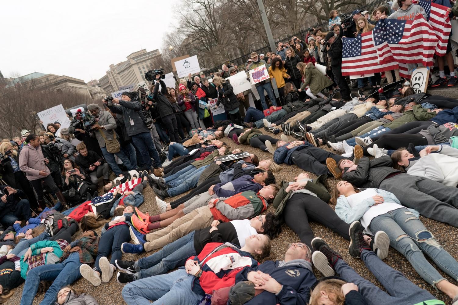 Students protest gun laws in Washington D.C. after the Marjory Stoneman- Douglas shooting.