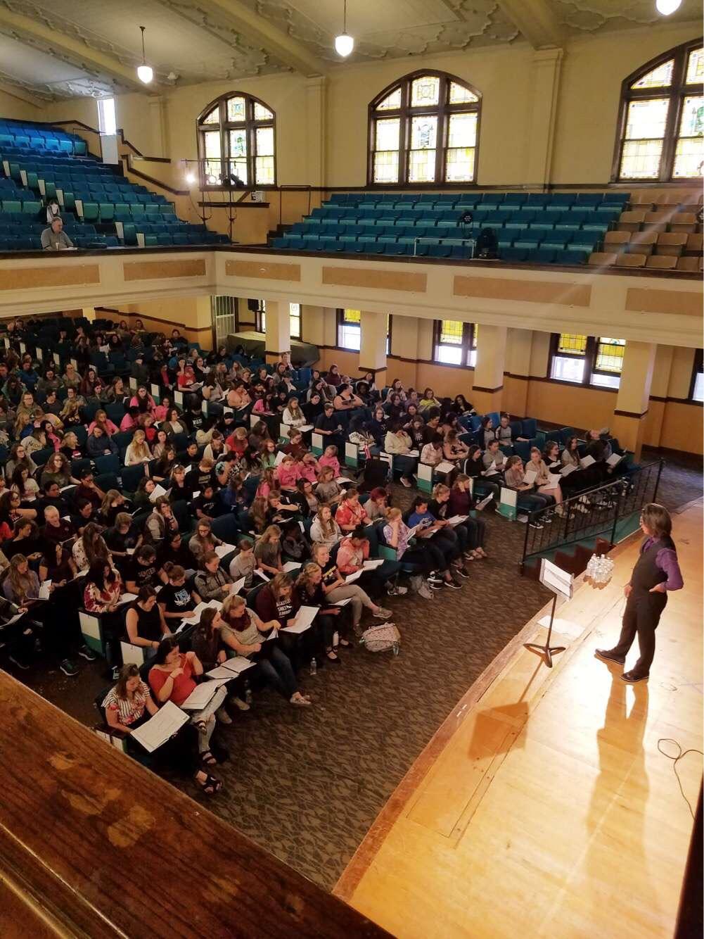 Choir students attending the KMEA at Kansas Wesleyan Univerisity