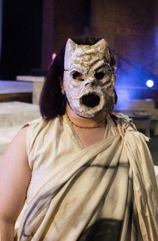 Students wear their hand made masks based on Greek mythology.